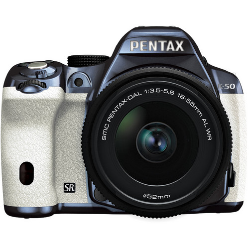 Pentax K-50 Digital SLR Camera with 18-55mm f/3.5-5.6 Lens (Metal Navy/White)