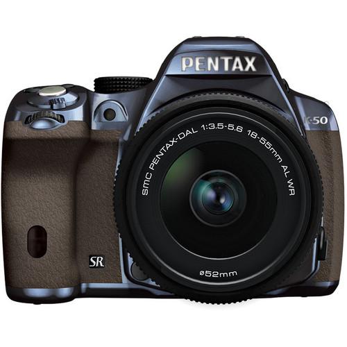 Pentax K-50 Digital SLR Camera with 18-55mm f/3.5-5.6 Lens (Metal Navy/Brown)