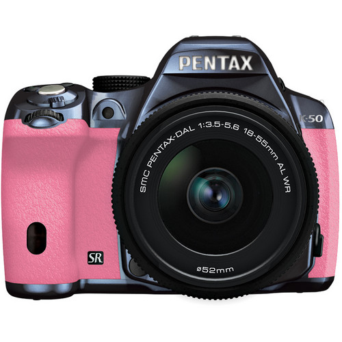 Pentax K-50 Digital SLR Camera with 18-55mm f/3.5-5.6 Lens (Metal Navy/Pink)