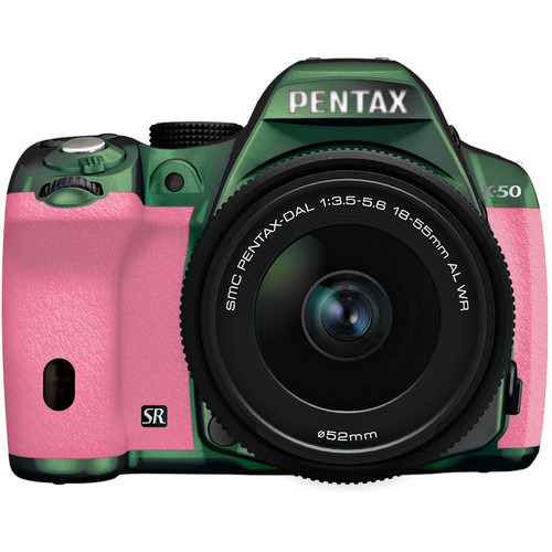 Pentax K-50 Digital SLR Camera with 18-55mm f/3.5-5.6 Lens (Metal Green/Pink)