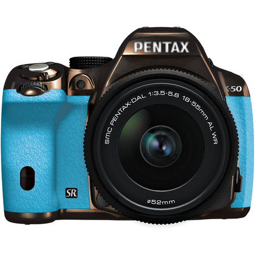 Pentax K-50 Digital SLR Camera with 18-55mm f/3.5-5.6 Lens (Metal Brown/Aqua)