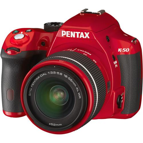 Pentax K-50 DSLR Camera with 18-55mm Lens (Red)