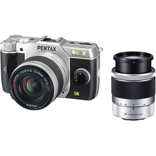 Pentax Q7 Compact Mirrorless Camera with 5-15mm and 15-45mm Lenses (Silver)
