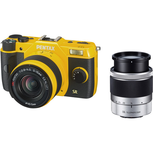 Pentax Q7 Compact Mirrorless Camera with 5-15mm and 15-45mm Lenses (Yellow)