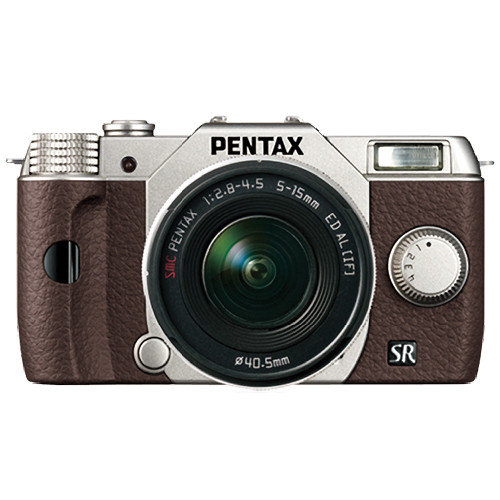 Pentax Q10 Compact Mirrorless Camera with 5-15mm Lens (Silver / Brown)