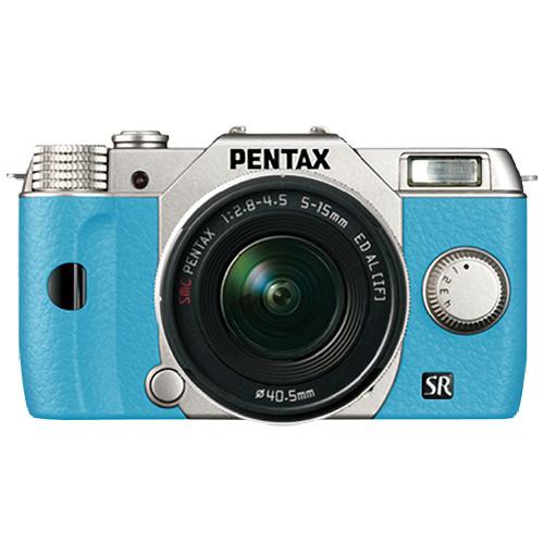 Pentax Q10 Compact Mirrorless Camera with 5-15mm Lens (Silver / Aqua)