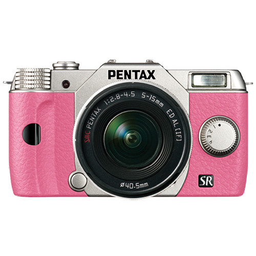 Pentax Q10 Compact Mirrorless Camera with 5-15mm Lens (Silver / Pink)