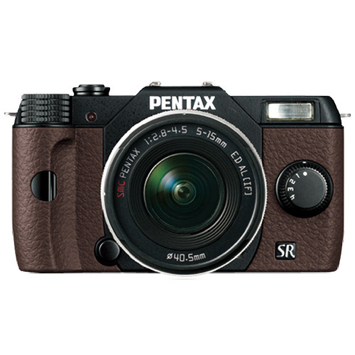 Pentax Q10 Compact Mirrorless Camera with 5-15mm Lens (Black / Brown)
