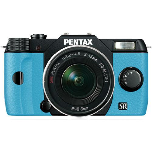 Pentax Q10 Compact Mirrorless Camera with 5-15mm Lens (Black / Aqua)