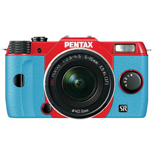Pentax Q10 Compact Mirrorless Camera with 5-15mm Lens (Red / Aqua)