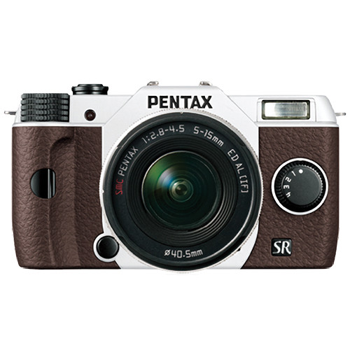 Pentax Q10 Compact Mirrorless Camera with 5-15mm Lens (White / Brown)