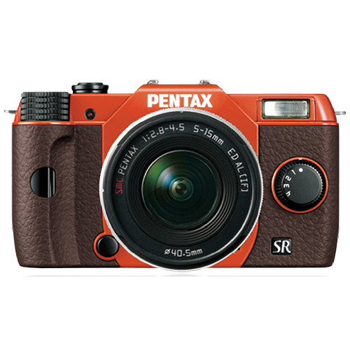 Pentax Q10 Compact Mirrorless Camera with 5-15mm Lens (Orange / Brown)