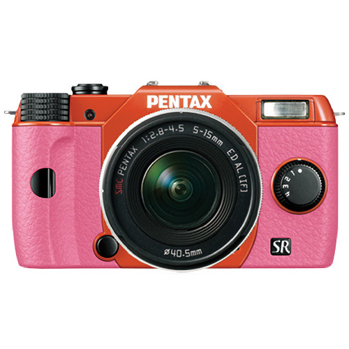 Pentax Q10 Compact Mirrorless Camera with 5-15mm Lens (Orange / Pink)