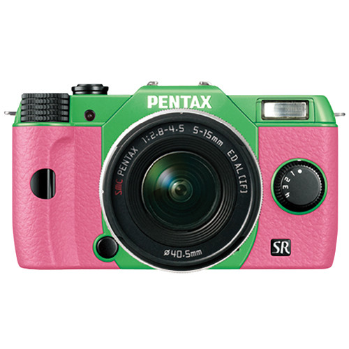 Pentax Q10 Compact Mirrorless Camera with 5-15mm Lens (Green / Pink)