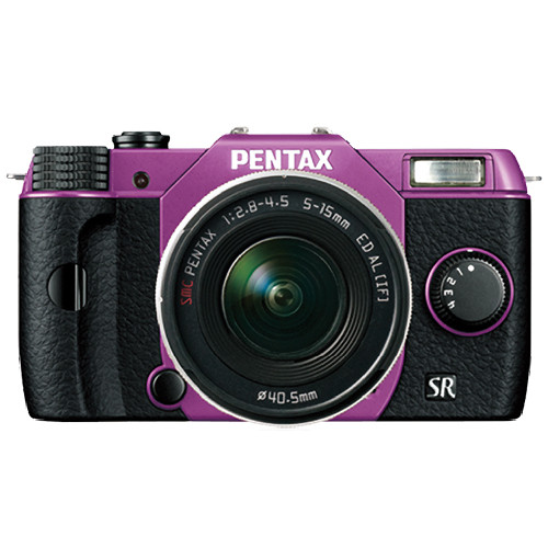 Pentax Q10 Compact Mirrorless Camera with 5-15mm Lens (Purple / Black)