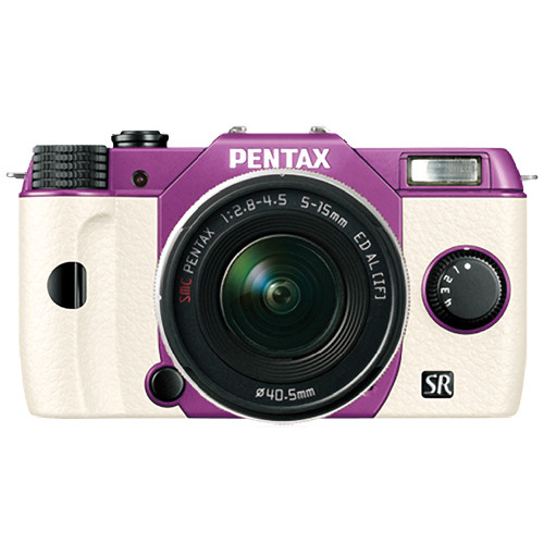 Pentax Q10 Compact Mirrorless Camera with 5-15mm Lens (Purple / White)