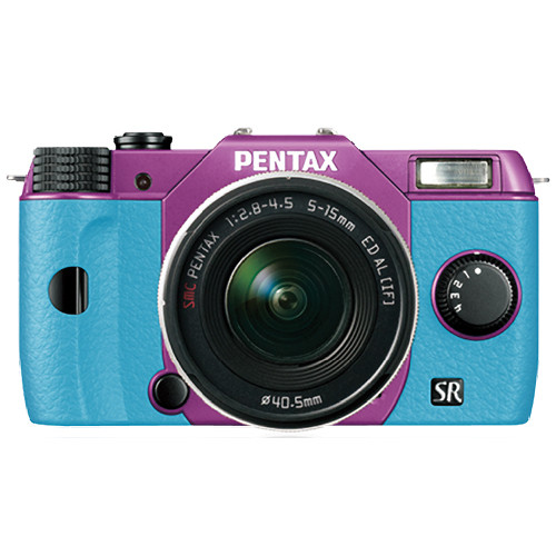 Pentax Q10 Compact Mirrorless Camera with 5-15mm Lens (Purple / Aqua)