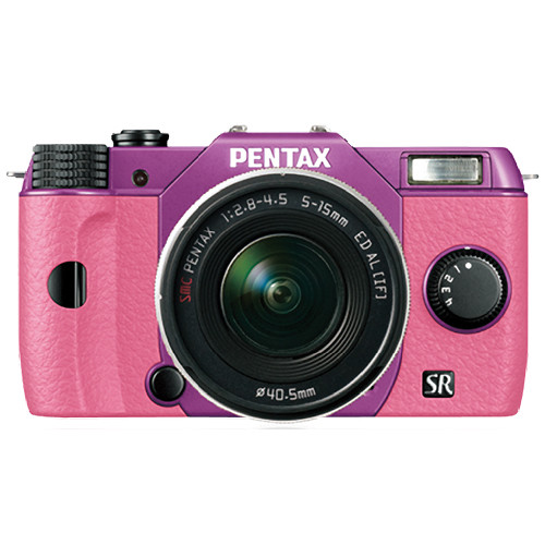 Pentax Q10 Compact Mirrorless Camera with 5-15mm Lens (Purple / Pink)