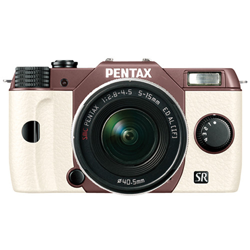 Pentax Q10 Compact Mirrorless Camera with 5-15mm Lens (Cocoa Brown / White)
