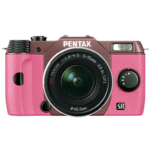 Pentax Q10 Compact Mirrorless Camera with 5-15mm Lens (Cocoa Brown / Pink)