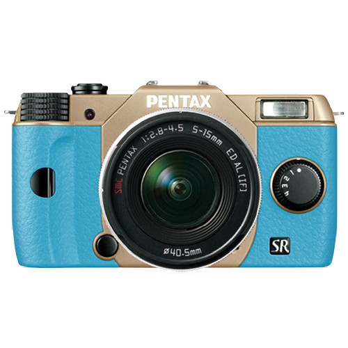 Pentax Q10 Compact Mirrorless Camera with 5-15mm Lens (Sand Beige / Aqua)