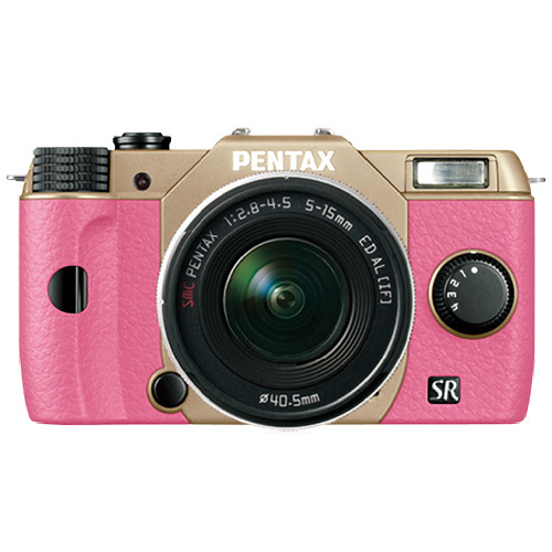 Pentax Q10 Compact Mirrorless Camera with 5-15mm Lens (Sand Beige / Pink)