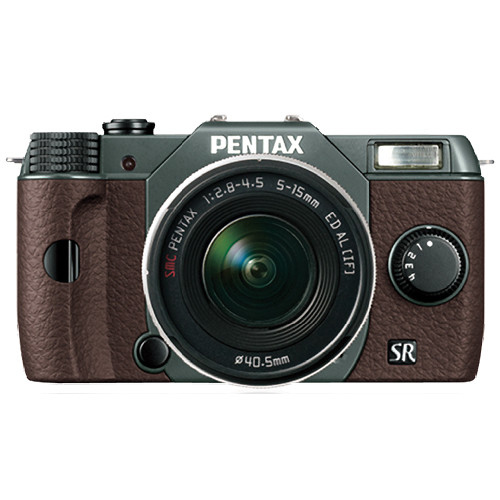 Pentax Q10 Compact Mirrorless Camera with 5-15mm Lens (Olive Green / Brown)