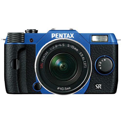 Pentax Q10 Compact Mirrorless Camera with 5-15mm Lens (Sapphire Blue / Black)