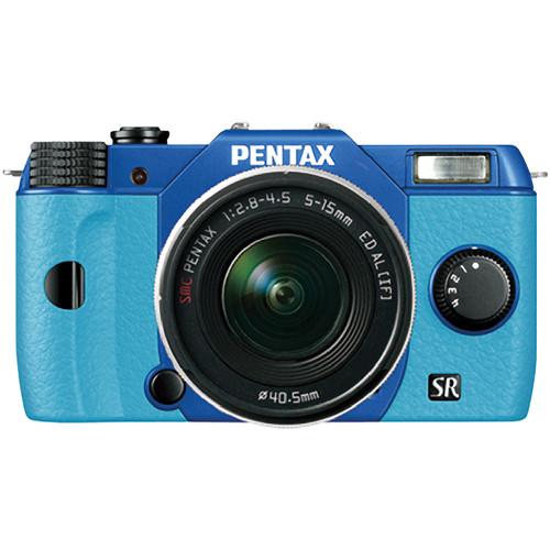Pentax Q10 Compact Mirrorless Camera with 5-15mm Lens (Sapphire Blue / Aqua)