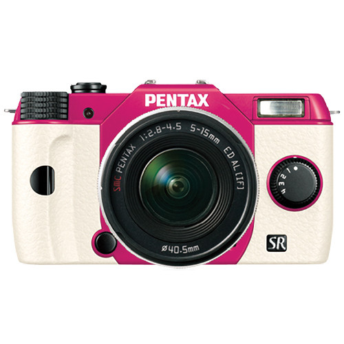 Pentax Q10 Compact Mirrorless Camera with 5-15mm Lens (Cherry Pink / White)