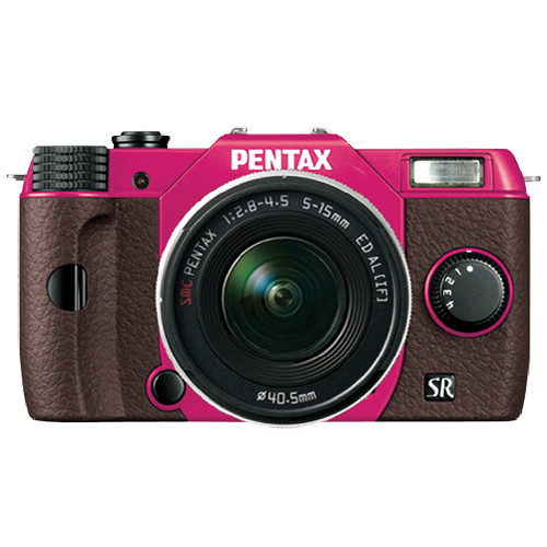 Pentax Q10 Compact Mirrorless Camera with 5-15mm Lens (Cherry Pink / Brown)
