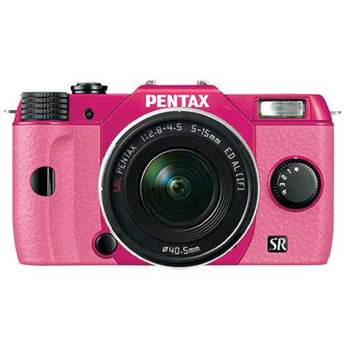 Pentax Q10 Compact Mirrorless Camera with 5-15mm Lens (Cherry Pink / Pink)