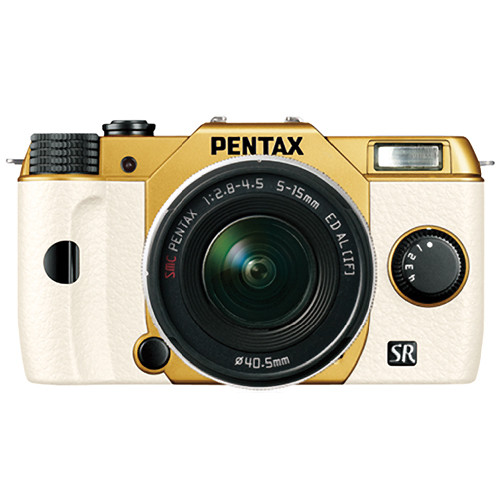Pentax Q10 Compact Mirrorless Camera with 5-15mm Lens (Gold / White)