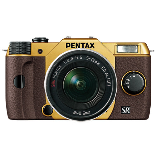 Pentax Q10 Compact Mirrorless Camera with 5-15mm Lens (Gold / Brown)