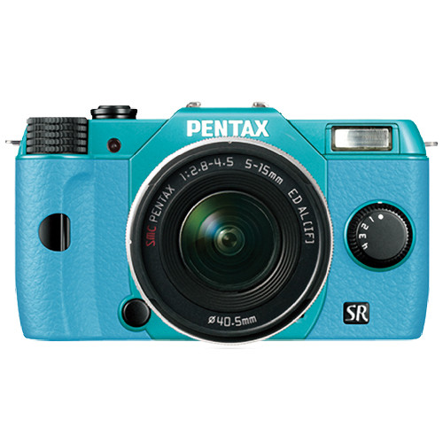 Pentax Q10 Compact Mirrorless Camera with 5-15mm Lens (Mint / Aqua)