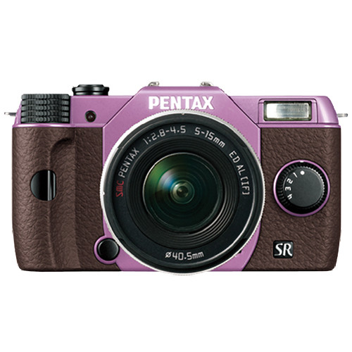 Pentax Q10 Compact Mirrorless Camera with 5-15mm Lens (Lilac / Brown)