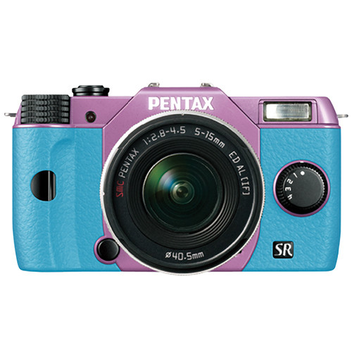 Pentax Q10 Compact Mirrorless Camera with 5-15mm Lens (Lilac / Aqua)
