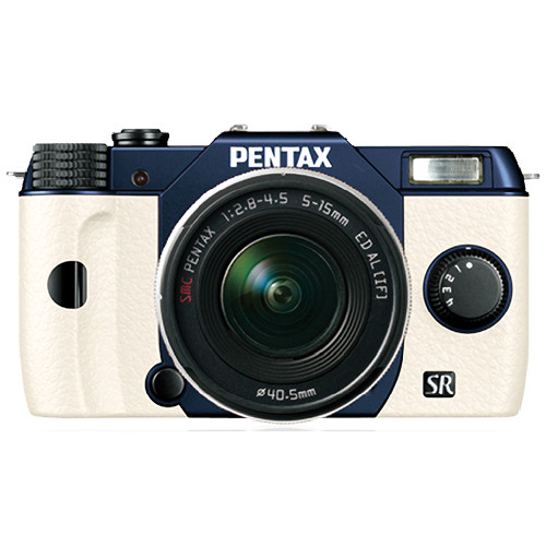 Pentax Q10 Compact Mirrorless Camera with 5-15mm Lens (Metal Navy / White)