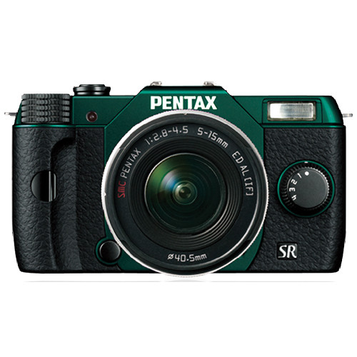 Pentax Q10 Compact Mirrorless Camera with 5-15mm Lens (Metal Green / Black)