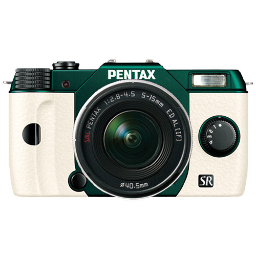Pentax Q10 Compact Mirrorless Camera with 5-15mm Lens (Metal Green / White)