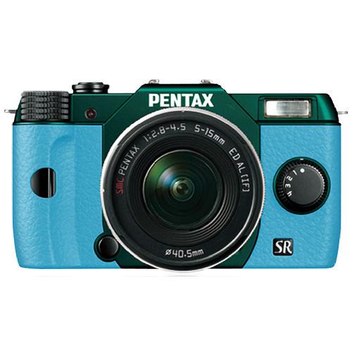 Pentax Q10 Compact Mirrorless Camera with 5-15mm Lens (Metal Green / Aqua)