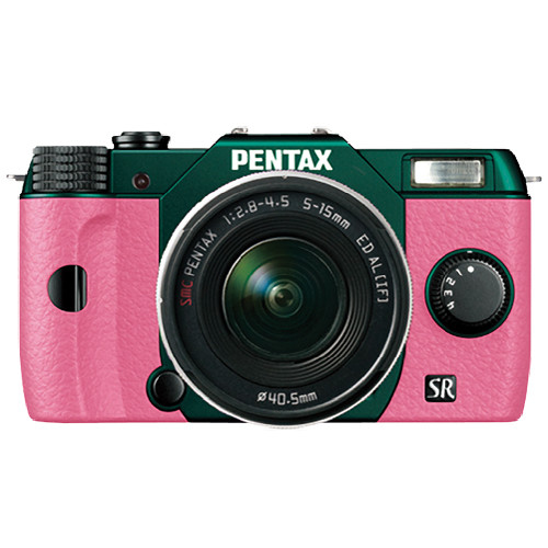 Pentax Q10 Compact Mirrorless Camera with 5-15mm Lens (Metal Green / Pink)