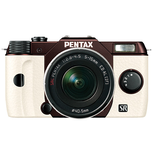 Pentax Q10 Compact Mirrorless Camera with 5-15mm Lens (Metal Brown / White)