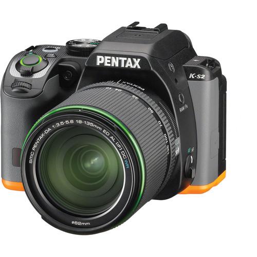Pentax K-S2 DSLR Camera with 18-135mm Lens (Black/Orange)