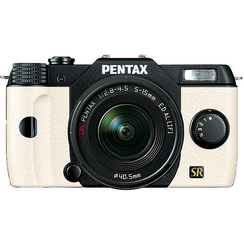 Pentax Q7 Compact Mirrorless Camera with 5-15mm f/2.8-4.5 Zoom Lens (Black/White)