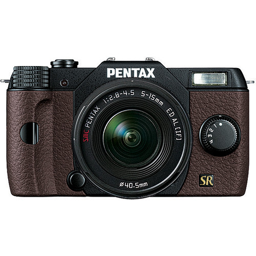 Pentax Q7 Compact Mirrorless Camera with 5-15mm f/2.8-4.5 Zoom Lens (Black/Brown)