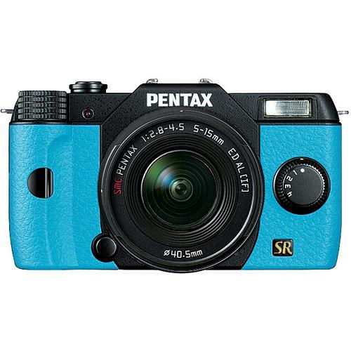 Pentax Q7 Compact Mirrorless Camera with 5-15mm f/2.8-4.5 Zoom Lens (Black/Aqua)
