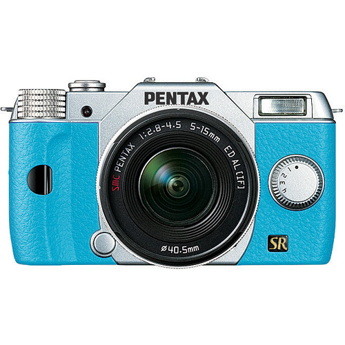 Pentax Q7 Compact Mirrorless Camera with 5-15mm f/2.8-4.5 Zoom Lens (Silver/Aqua)