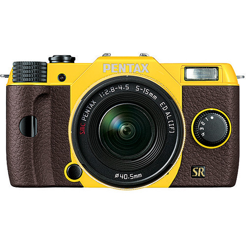 Pentax Q7 Compact Mirrorless Camera with 5-15mm f/2.8-4.5 Zoom Lens (Yellow/Brown)