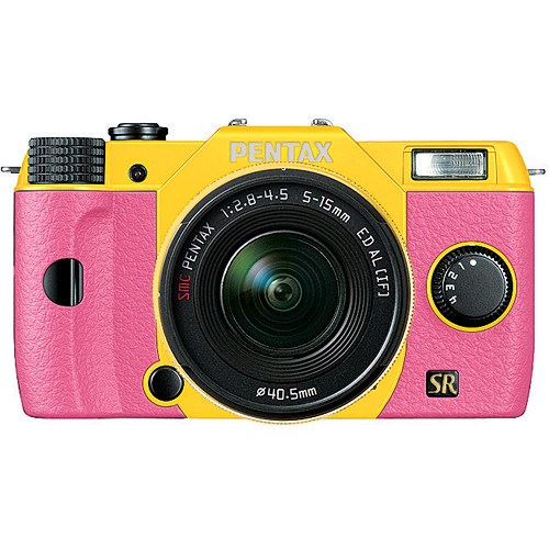 Pentax Q7 Compact Mirrorless Camera with 5-15mm f/2.8-4.5 Zoom Lens (Yellow/Pink)